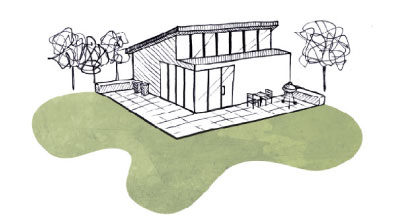 sommerhus arkitektur illustration